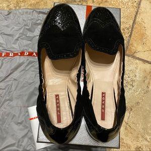 Prada Shoes - Prada flats shiny blck 39 1/2
